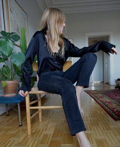 Johanna P. Denim & black silk shirt