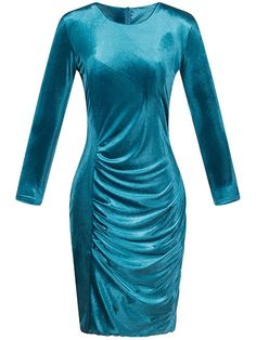 8ac4099e070a Vintage Plain Velvet Round Neck Bodycon Dress