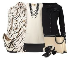 Ivory & Black by stylesbyjoey on Polyvore featuring Oui, Moschino, CristinaEffe, two-tone dresses, oxford pumps, pearls, two-tone bags, cardigans and polka dot coats