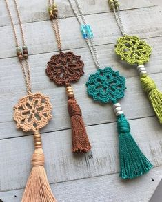 Boho tassel necklace boho crochet pendant 20 long - tinker with wool - . - Boho tassel necklace boho crochet pendant 20 long – tinker with wool – - Crochet Ornaments, Crochet Crafts, Crochet Projects, Diy Projects, Crochet Stitches, Knit Crochet, Crochet Patterns, Boho Crochet, Crochet Cape