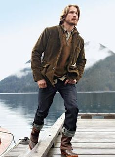 """This girl understands why Eddie Bauer men are so attractive... """"He just needed a place he could retreat to, to clear his mind... That's why he built the cabin."""" Because """"he missed working with his hands."""" Mmhmm."""