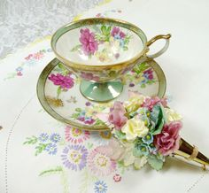 Vintage Tea Cup & Saucer Pedestal Green Pink with by meaicp, $40.00