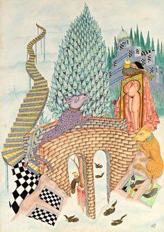 Abbés SALADI (1950-1992)  Paysage fantastique, 1984  Aquarelle, encre de chine et encre de couleur  Signé et daté en bas à droite  50 x 36 cm . - Villanfray & Associés - 01/07/2016