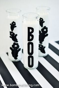 Crazy-simple, crazy-cheap Halloween ghost candles you can make in less than 10 minutes! ~ making these today! Cheap Halloween, Holidays Halloween, Spooky Halloween, Halloween Crafts, Happy Halloween, Halloween Decorations, Halloween Stuff, Halloween Ideas, Dollar Tree Candles