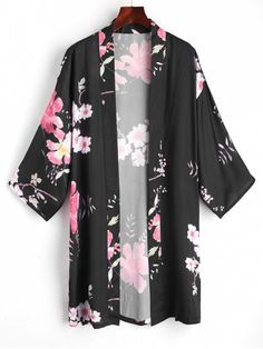 Shop for Floral Open Front Kimono Blouse BLACK: Blouses ONE SIZE at ZAFUL. Only $21.49 and free shipping!