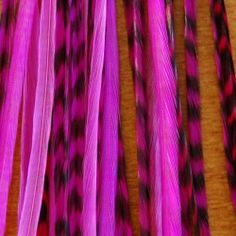Hot Pink Momma 5 Feather Pack by Lucky Featherhead. $8.00. 3 Hot Pink Grizzly. 3 Micro Beads. Instructions. 5 Loose Feathers. 2 Hot Pink Solid. Feather packs come with 5 loose feathers. The pink pack comes with 3 hot pink grizzly and 2 hot pink solid. You will also get 3 microlinks.  The feathers are real so the sizes and lengths are all different. No two feathers are the same. The feathers are 7-12 but most are around 10 inches long. These are thin feathers so they blend...
