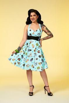 Pinup Couture Zooey Dress in Lady Wrestlers Print   Retro Style Swing Dress   Pinup Girl Clothing