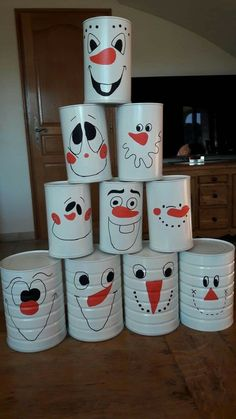 Snowballs all - Kinderspiele Tin Can Crafts, Craft Stick Crafts, Fall Crafts, Diy Crafts For Kids, Halloween Crafts, Arts And Crafts, Tin Can Art, Craft Projects, Projects To Try