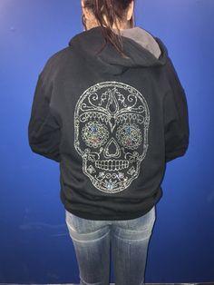 Rhinestone Sugar Skull Unisex Zip Hoodie