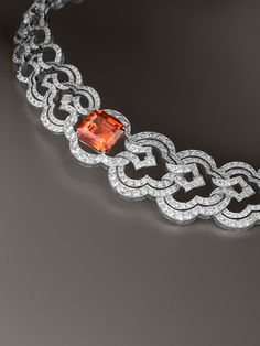 Louis Vuitton 16.82 carat mandarine garnet and diamond one of a kind Conquêtes bracelet.