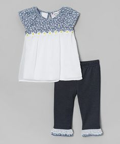 This Black & White Floral Tunic & Capri Leggings - Toddler by Speechless is perfect! #zulilyfinds