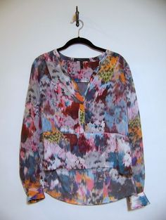 BCBGMAXAZRIA 'Liberty' Watercolor Print Silk Top Blouse Top Shirt Sz S #BCBGMAXAZRIA #PulloverStyle