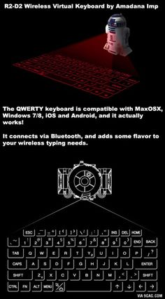 This virtual keyboard is a Real Genius, Techno Gadgets, Take My Money, Funny Times, Funko Pop Vinyl, Hologram, Best Funny Pictures, R2 D2, Keyboard