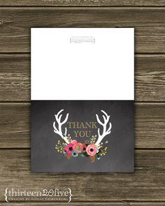 Floral Antler Chalkboard DIY Thank You Card #Pink #Wedding #PinkWedding #Paper