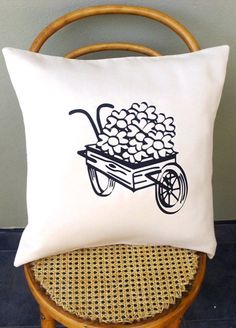 Items similar to Vintage Flower Wagon Scatter Cushion Cover on Etsy Scatter Cushions, Vintage Flowers, Decoration, Home Projects, Tote Bag, Trending Outfits, Unique Jewelry, Cover, Handmade Gifts