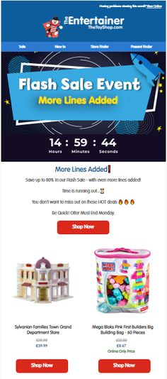 Countdown Timer on Flash Sale email from The Entertainer #EmailMarketing #Email #Marketing #CountdownTimer #Sale #Retail #Toys