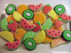 Fruit Salad by Polka-dot Zebra Fruit Cookies, Galletas Cookies, Cut Out Cookies, Cute Cookies, Watermelon Sugar Cookies, Sugar Cookie Royal Icing, Iced Sugar Cookies, Fruit Birthday, 2nd Birthday