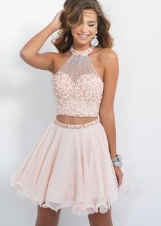 Antique Cute Two Piece Halter Beaded Bodice Short Cocktail Dress