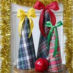 Plaid Styrofoam Cone trees