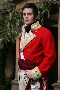 Mr. George Wickham in his regimental uniform, played by Tom Riley ~ in the 2008 four-part British television series LOST IN AUSTEN.  Jane Austen with a humorous twist.