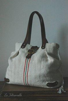 Authentic Vintage Grain Sack Handbag Antique by LeFeltronelle