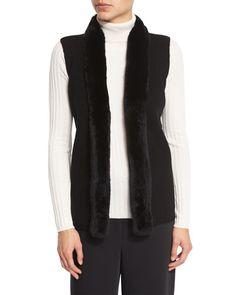 Rabbit Fur-Trimmed Ribbed Sweater Vest, Black