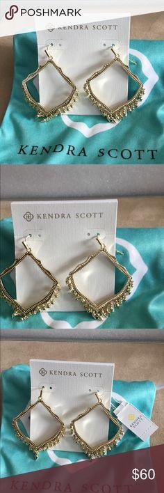 "Kendra Scott Lacy Drop Earrings In Gold Kendra Scott Lacy Drop Earrings In Yellow Gold An open metallic frame with delicate, playful details, the Lacy Drop Earrings in Gold are a must-have statement. 14K Gold Plated Over Brass Size: 2.21""L x 1.56""W on earwire Kendra Scott Jewelry Earrings"