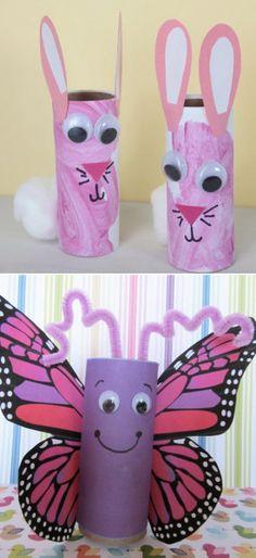 toilet-paper-roll-crafts-for-kids Des lapins, des papillons