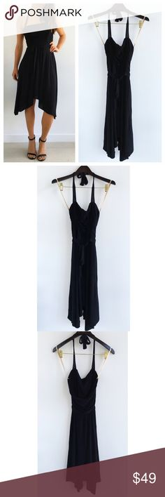 """BCBGMAXAZRIA Halter Black Evening Dress BCBGMAXAZRIA Halter Black Evening Dress! Perfect dress for your next special occasion! Super comfortable and stretchy. Wear with black strappy heels. Excellent condition. Halter. Ties around the waist. Acetate, nylon, spandex blend. Lined. Longer on the sides. Measurements Chest-32"""" waist-26"""" hips-40"""" shortest hem length-35"""" longest hem length-42"""" BCBGMaxAzria Dresses Asymmetrical"""
