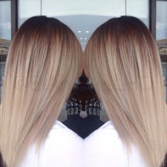Cool blonde tones balayage ombre melt technique dark roots