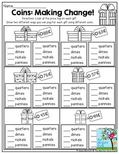 This is a great activity for Grade. This practical life exercise would hopefully help children understand expenses when Christmas shopping! You're copy pasting anyway. Teaching Money, Student Teaching, Teaching Time, Teaching French, 2nd Grade Classroom, Math Classroom, Math Resources, Math Activities, Vocabulary Strategies