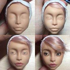 Several step-by-step photos creating a new doll by Olga KamenetskayaSimple face painting designs are not hard. Doll Face Paint, Doll Painting, Monster High Repaint, Monster High Dolls, Polymer Clay Figures, Monster High Custom, Doll Makeup, Realistic Dolls, Face Painting Designs