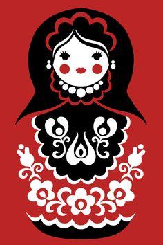 Matryoshka – Russian nesting doll. Vector clip art. #Russia #folk #art…