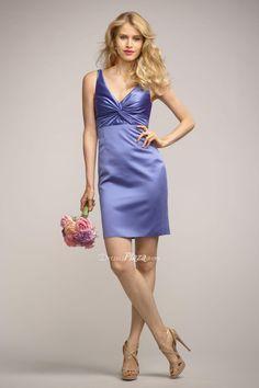#azure #satin #vneck #sleeveless #sheath #shortkeyholeback #bridesmaiddress