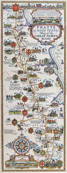 Pratt's The Great North Road Map, c.1930. One of the decorative series of maps…