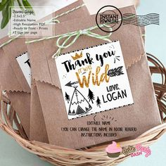 INSTANT DOWNLOAD EDITABLE Wild one Favor Tag Black and Gold