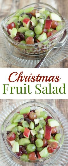 Christmas Fruit Salad Who says the holidays can't be healthier? This festive Christmas Fruit Salad is sweetened with honey and full of delicious grapes, apples and cherries! Christmas Fruit Salad, Christmas Fruit Ideas, Winter Fruit Salad, Fruit Salad Recipes, Fruit Salads, Fun Fruit, Healthy Snacks, Healthy Recipes, Christmas Brunch