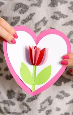 Tulip in a Heart Card Valentines Day Craft for Kids