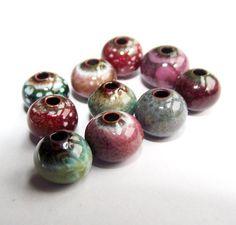 Sort it Out blue pink green enamel beads by artisanbeadsplus, $13.60