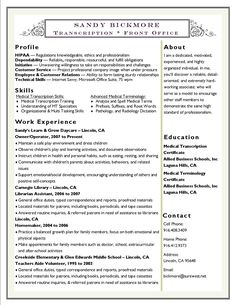 sandy bickmore resume medical transcription medical terminology career resume