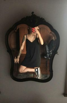 Sneakers and black slip dress... And tattoos. Easy, no-frills summer outfit. Perfect for Dallas in the heat.