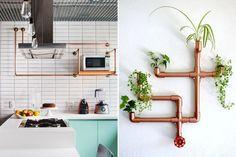 Prateleira, suporte de notebook, mesa lateral e cabideiro são algumas das inspirações que separamos com cano de cobre para uma decoração industrial