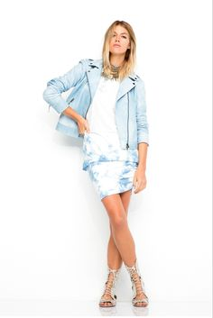 Pam & Gela | Spring 2015 Ready-to-Wear | 02 Blue leather jacket and white/blue tie-dye top and mini skirt
