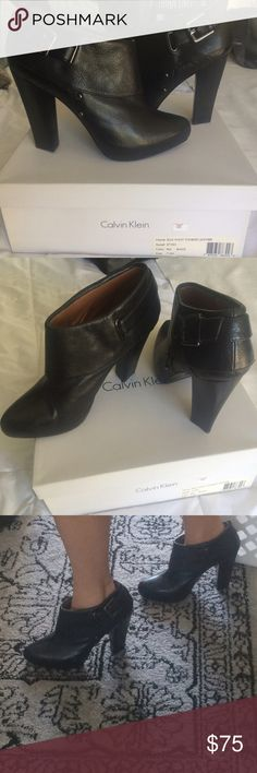 NEW CALVIN KLEIN BLACK LEATHER ELLA  BOOTIES 7.5 Brand New never worn black waxy tumbled leather Ella ankle booties with platform. Size 7.5 Calvin Klein Shoes Ankle Boots & Booties