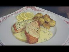 Somon cu Sos de Lămâie - YouTube Dressing, Fish Recipes, Good Food, Goodies, Food And Drink, Potatoes, Vegetables, Cooking, Breakfast