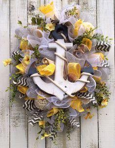 Custom Wreath I Made.....yellow, grey, anchor
