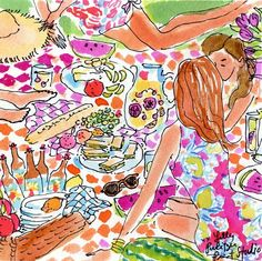 Picnic in print Lilly Pulitzer Prints, Lily Pulitzer, Love Illustration, Fabric Patch, Happy Art, Illustrations Posters, Cute Art, Print Patterns, Artsy