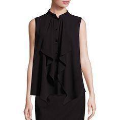 Escada Ruffle-Front Sleeveless Blouse (809 CAD) ❤ liked on Polyvore featuring tops, blouses, apparel & accessories, black, ruffle front blouse, ruffle front top, sleeveless ruffle top, sleeveless blouse and frilly blouse