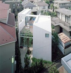 High density living, but with a modern twist that gives both openness and privacy. (House I Asai Architects) Japanese Architecture, Space Architecture, Residential Architecture, Contemporary Architecture, Amazing Architecture, Creative Architecture, Arch House, My House, Beautiful Buildings