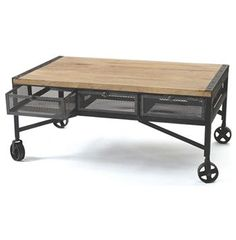 Vintage Industrial Loft Rolling Steel Wood Coffee Table